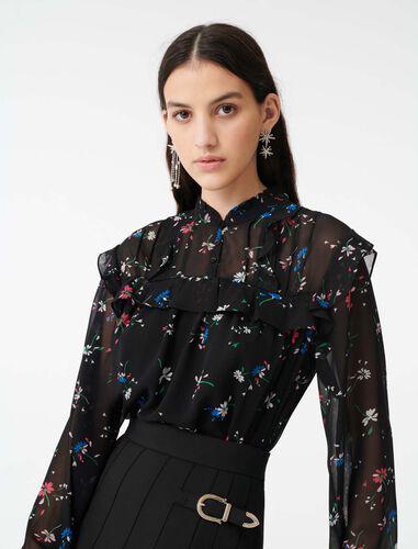 Printed-muslin top : Tops color Black