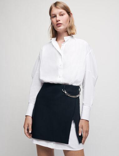 链条装饰衬衫式连衣裙 : 连衣裙 顏色 黑色/BLACK