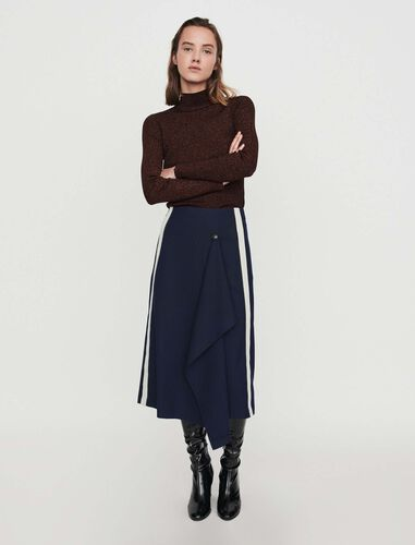 Skirt with racing stripes : Skirts color Navy