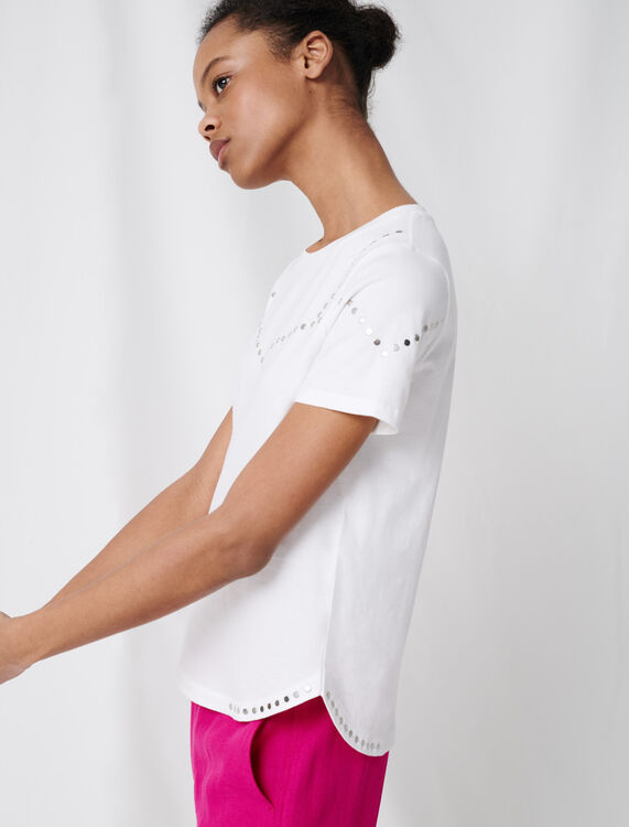 Studded white T-shirt : T-Shirts color White