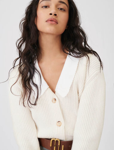 Cropped cardigan with large collar : Cardigans color Ecru