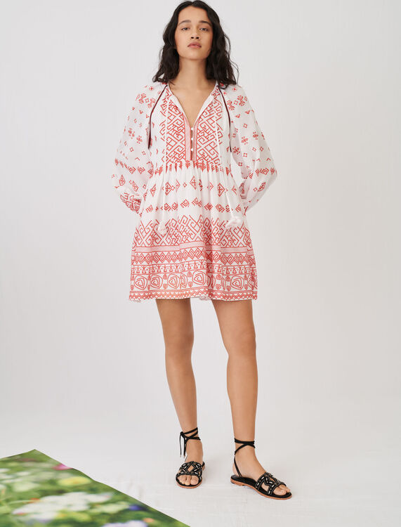 Baby-doll style fully embroidered dress - Dresses - MAJE