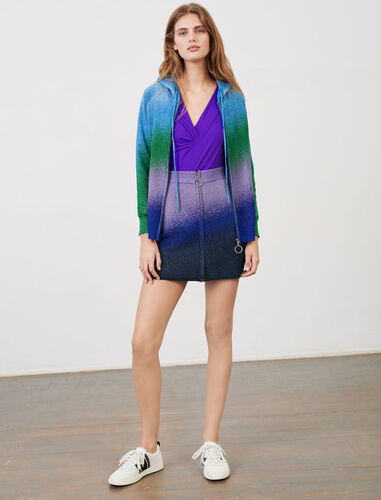 Lurex knit hooded cardigan : Cardigans color Ocean