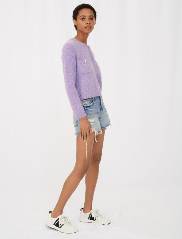 Cardigan with jewel buttons : Cardigans color Parma Violet