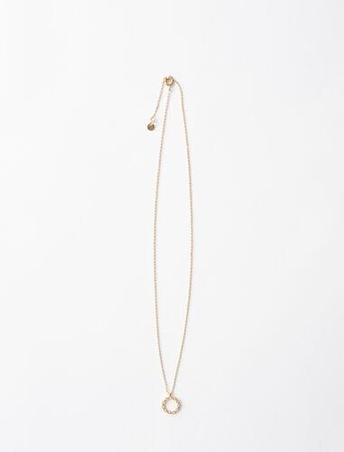 Rhinestone O necklace : Jewelry color Gold
