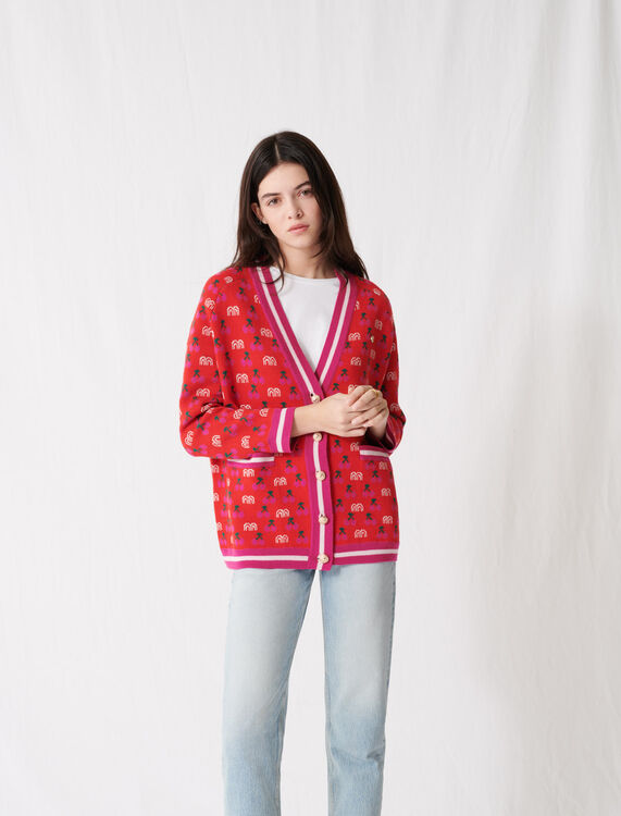 Jacquard cardigan with contrasting motif : Cardigans color Red