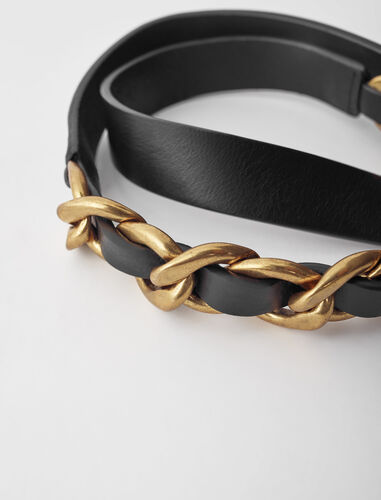 Leather belt with curb chain : Belts color Black