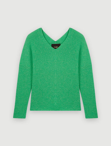V-neck cashmere pullover : Sweaters & Cardigans color China Grey
