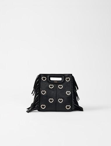 Leather mini M bag, diamanté and chain : Valentine Guide color Black