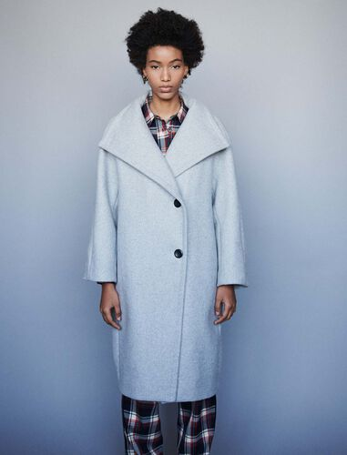 Long wool coat with wide collar : Overcoat color Grey