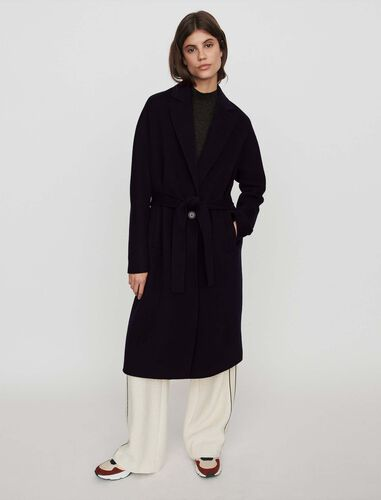 Belted double face coat : Overcoat color Camel