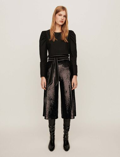 Sequin bermuda-style pants : Trousers color Black