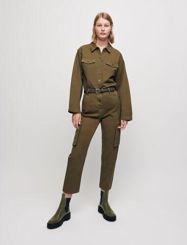 Combat-style workwear jumpsuit : Jumpshort & Jumpsuits color Khaki