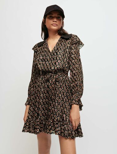 Printed lurex chiffon dress : Dresses color Big black M monogramme