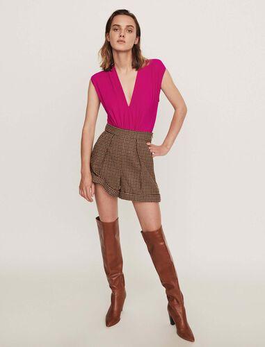 Stretch draped bodysuit : Tops color Purple
