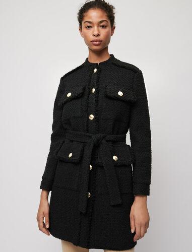 Belted tweed-style coat : Coats & Jackets color Black