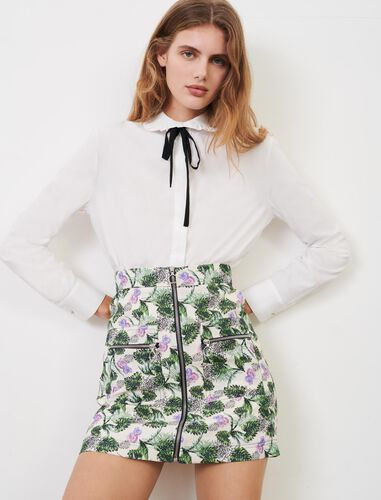 娃娃领系带纯色衬衫 : null 顏色 白色/WHITE
