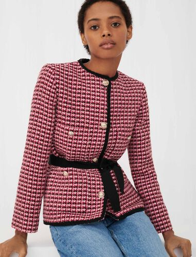 Contrast tweed jacket : Coats & Jackets color Fuchsia