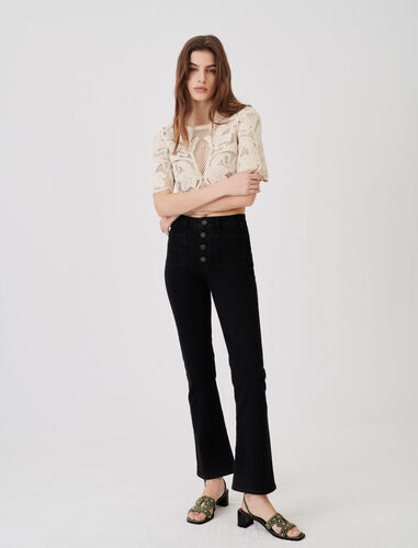 Jeans with pockets, flared at the bottom : Jeans color Black