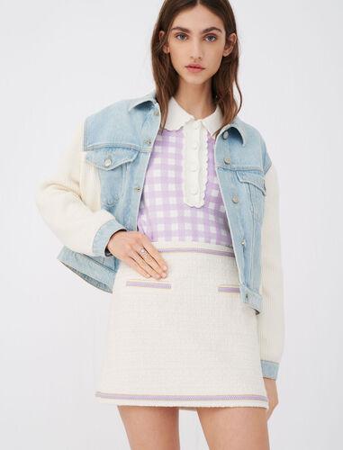 Contrast tweed skirt : null color Ecru