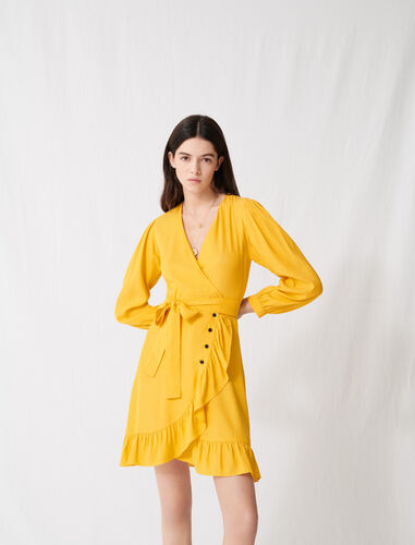 Sunny yellow wrap tie dress : Dresses color Yellow