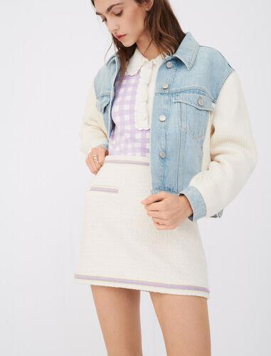 Contrast tweed skirt : Skirts color Ecru