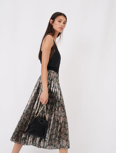 Sequin pleated skirt : Skirts color Multi-Coloured