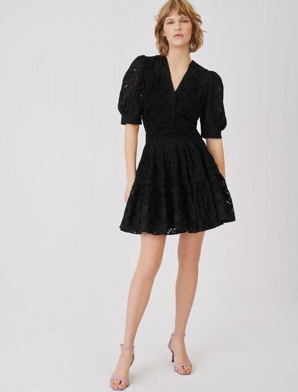 Skater dress in guipure : Dresses color Black