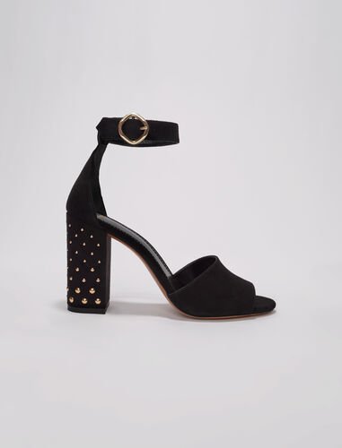 Black suede sandals with heels : Pumps & Sandals color Black