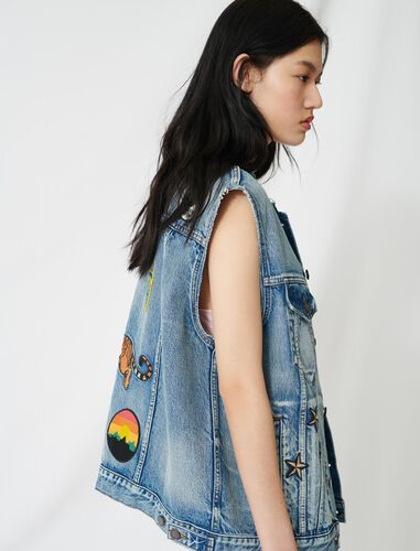 Sleeveless denim jacket : Coats & Jackets color Blue