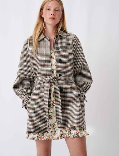 Checked double face coat : Coats & Jackets color Blue/White