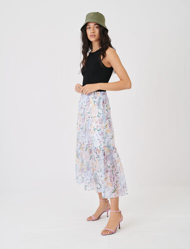 Skirt in crinkle-effect, printed voile : Skirts color White Jungle
