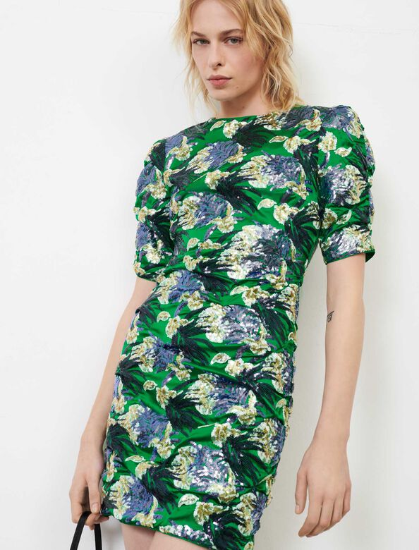 Embroidered sequin dress : Dresses color Green/Purple