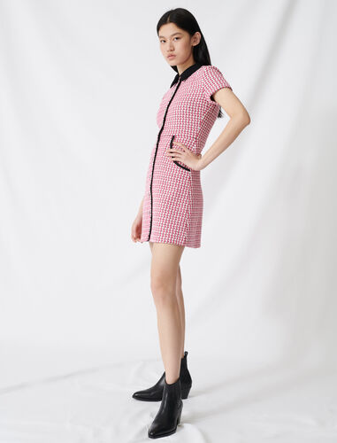 Tweed-style dress, contrasting details : Dresses color Fuchsia