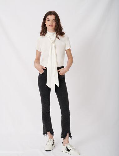 修身磨毛九分牛仔裤 : 牛仔裤 顏色 深灰色/ANTHRACITE