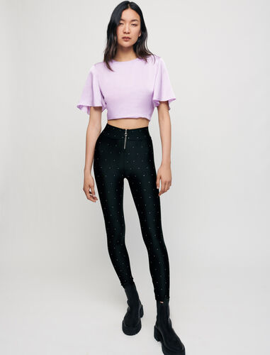 Stretch satin leggings with rhinestones : Trousers & Jeans color Black