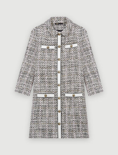 Tweed-style dress with contrasting bands : Dresses color Pale Pink