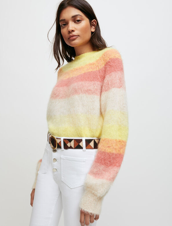 Fine jumper with multicoloured stripes : Sweaters & Cardigans color Yellow
