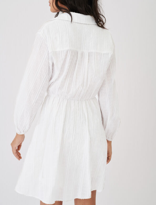 Cotton shirt dress, tied at the waist : Dresses color White