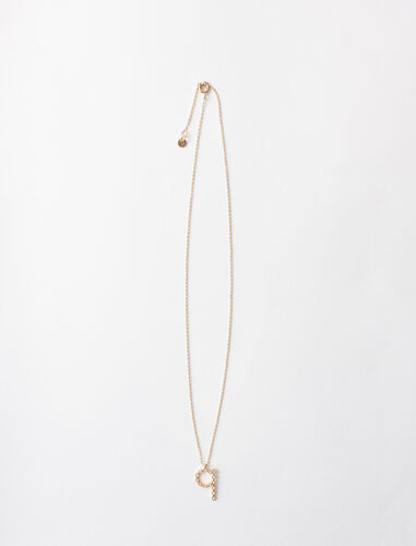 Rhinestone Q necklace : Jewelry color Gold