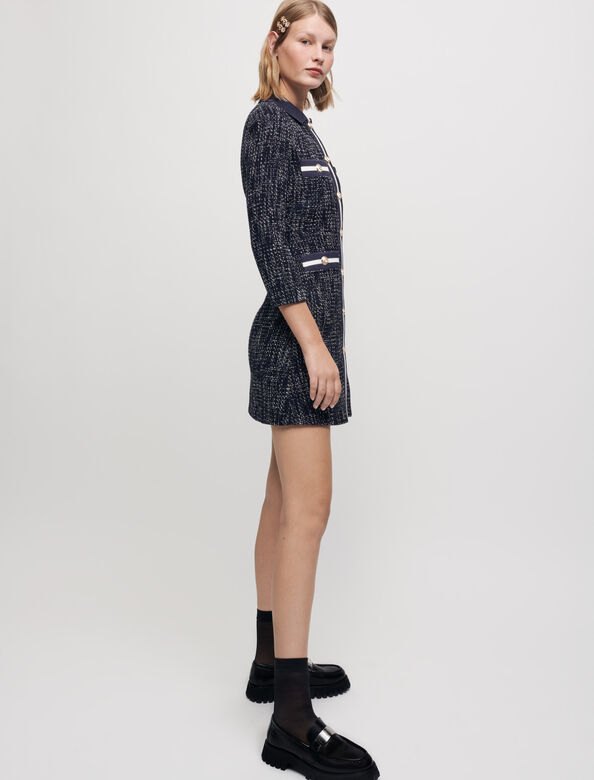 Tweed-style dress with contrasting bands : Dresses color Navy