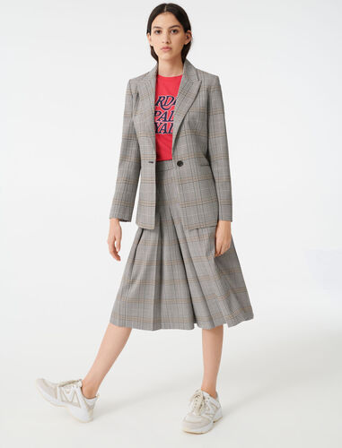 Single-breasted checked jacket : Blazers color Grey