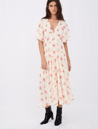 Asymmetric dress in printed muslin : View All color Grunge flowers white pink