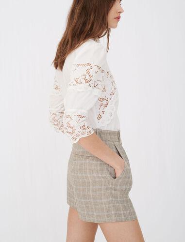 白色棉质花边衬衫 : null 顏色 白色/WHITE