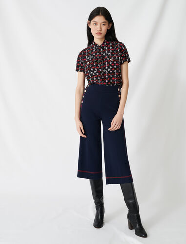 Flares with contrasting topstitching : Trousers color Navy