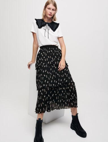 蝴蝶结印花长款半身裙 : Skirts & Shorts 顏色 黑白印花/Black Knots