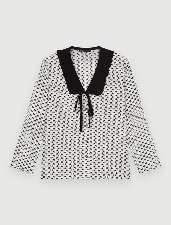Crêpe bow print shirt - Shirts - MAJE