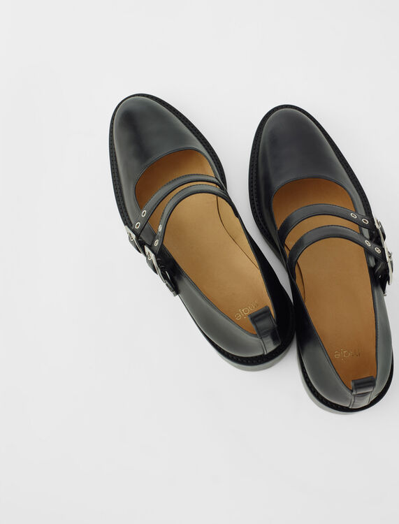 Black leather flat Mary Janes : Boots & Flat shoes color Black