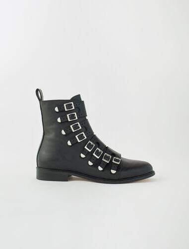 Multi-strap flat boots : Shoes color Black