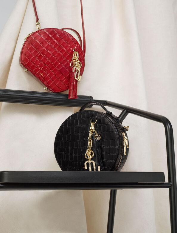 Croc-effect embossed round leather bag : Shoulder bags color Black
